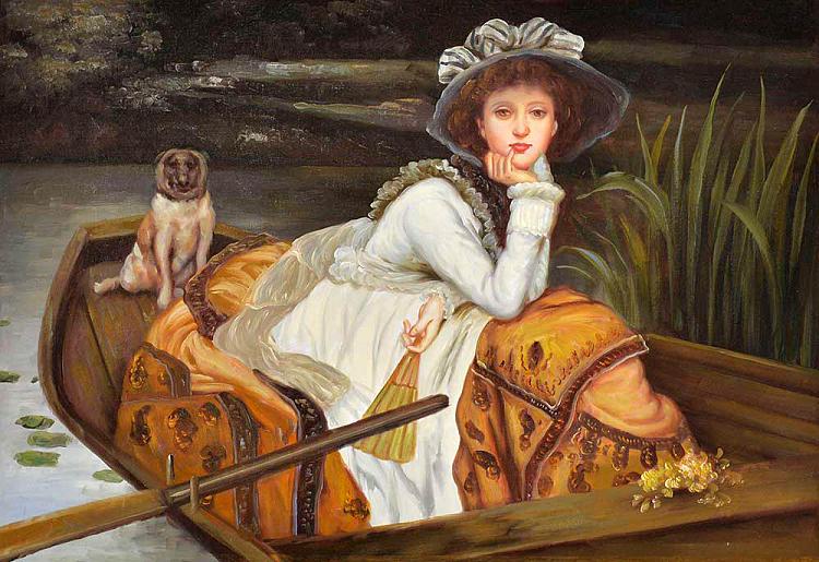 中国美院青年画家 文静《坐在船上的凯瑟琳》油画