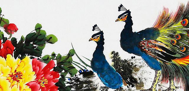 当代著名画家 唐雪花 孔雀 国画