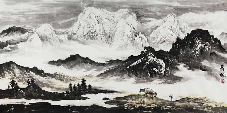 当代著名画家 肖飞 山水 国画