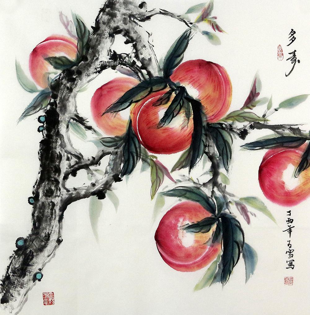 寿桃是汉族神话中可使人延年益寿的水果。神话中,西王母娘娘做寿,设蟠桃会款待群仙,所以民间习俗都用桃来做庆寿的物品。这幅《多寿》,以鲜艳的色彩,描绘了一树的寿桃的艺术形象。画面上桃枝古雅,叶片疏朗,几颗硕大的寿桃红艳可人,芬芳的果香,沁人心脾。画家用他手中的神来之笔,将花鸟画的情趣尽显无遗,将喜庆吉祥,灵动可爱的寿桃形象惟妙惟肖,栩栩如生地呈现在观赏者眼前。作品构图严谨,墨色生动,对比强烈,充满意蕴。 作品欣赏: