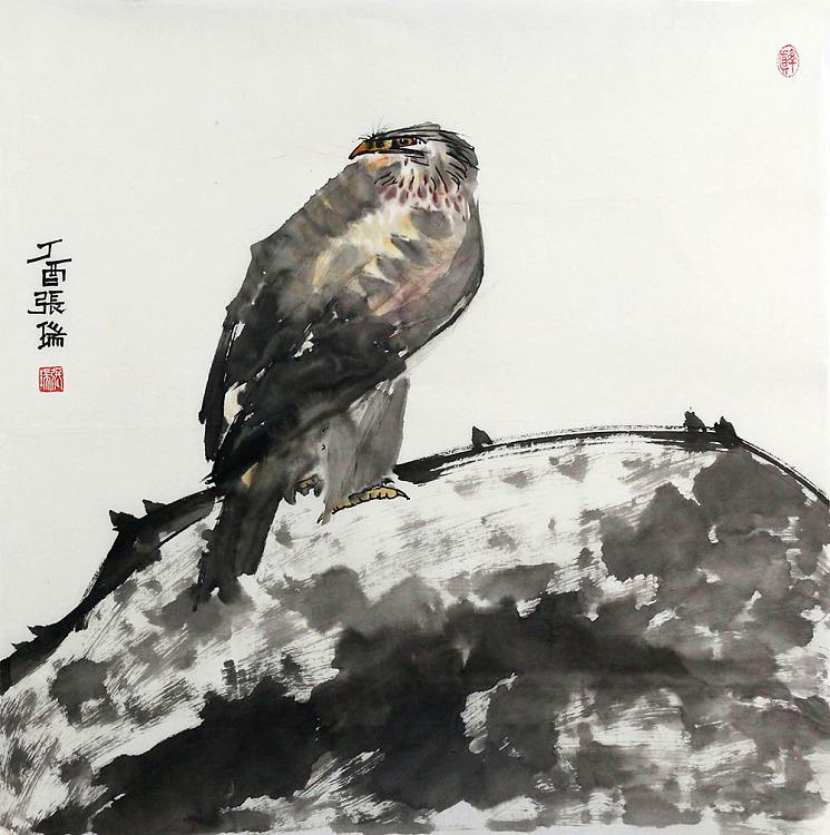 湖南省花鸟画家协会会员 张瑞 花鸟 国画