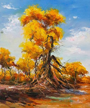 当代著名风景油画家 刘春建 《昂然》风景 油画