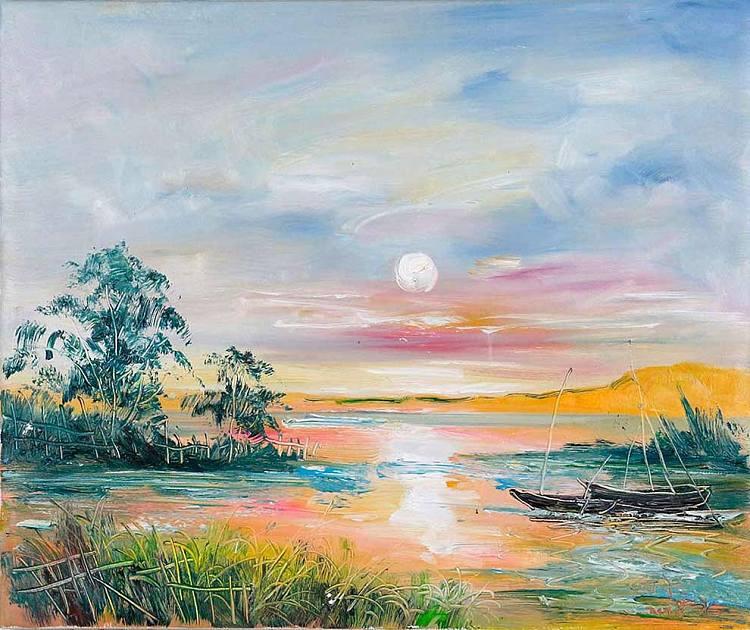 当代著名风景油画家 刘春建《日出印象》风景 油画