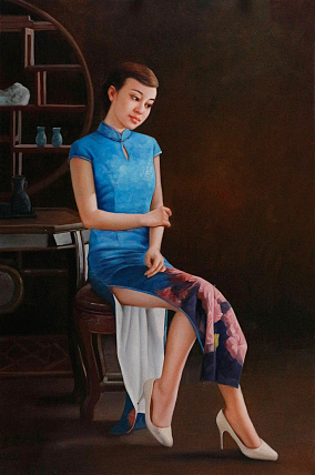 《穿旗袍的女人》中国美院青年画家 文静 人物油画