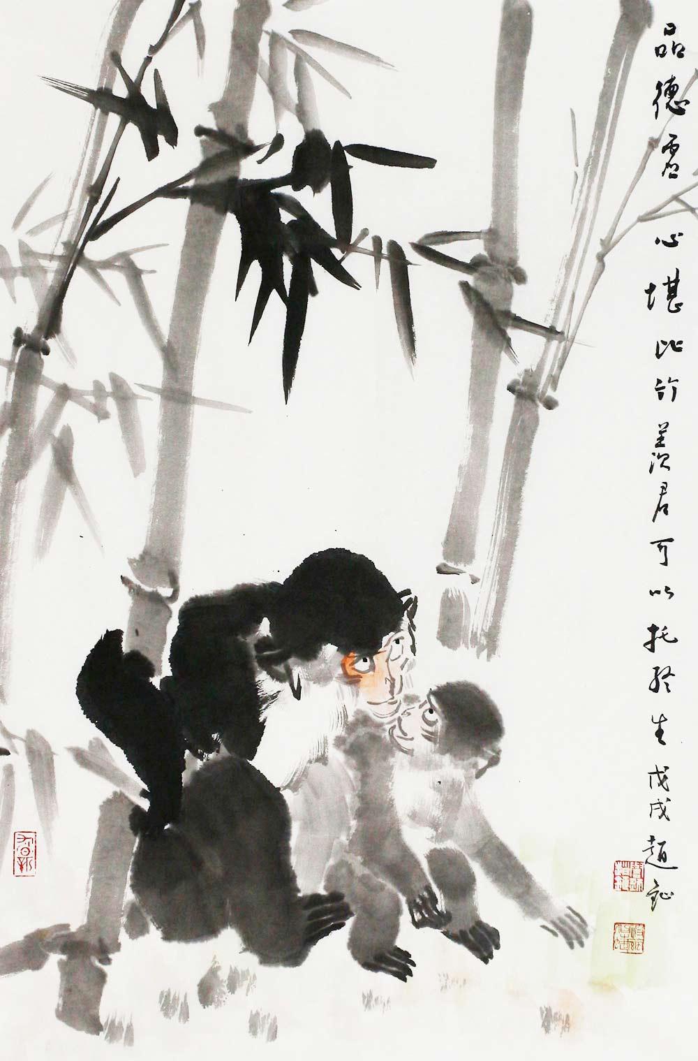 画面的背景是几棵粗壮而坚挺的竹树,一大一小两只猴子在竹林嬉戏,小