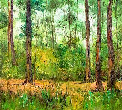 《树荫深深》当代著名风景油画家 刘春建油画