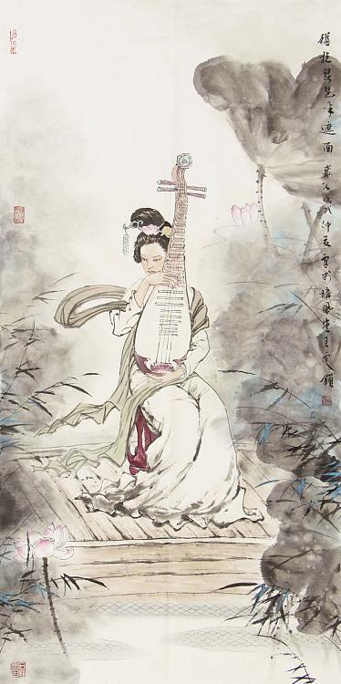 中国美术家协会会员 王定锁 犹抱琵琶半遮面