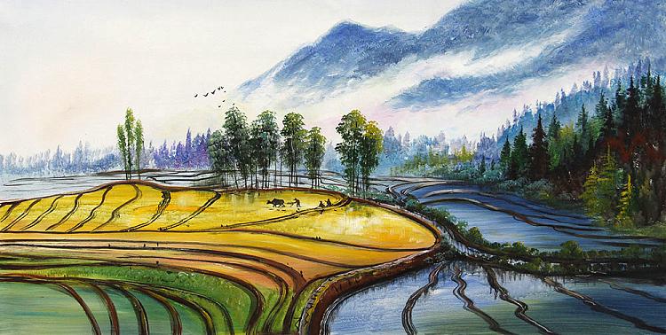 巨幅《 遥望麦田 》当代油画家 芙蓉 风景油画巨献