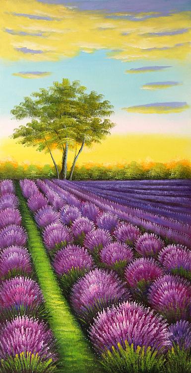 大尺幅风景《薰衣草— 紫气东来》当代油画家 芙蓉 精品油画