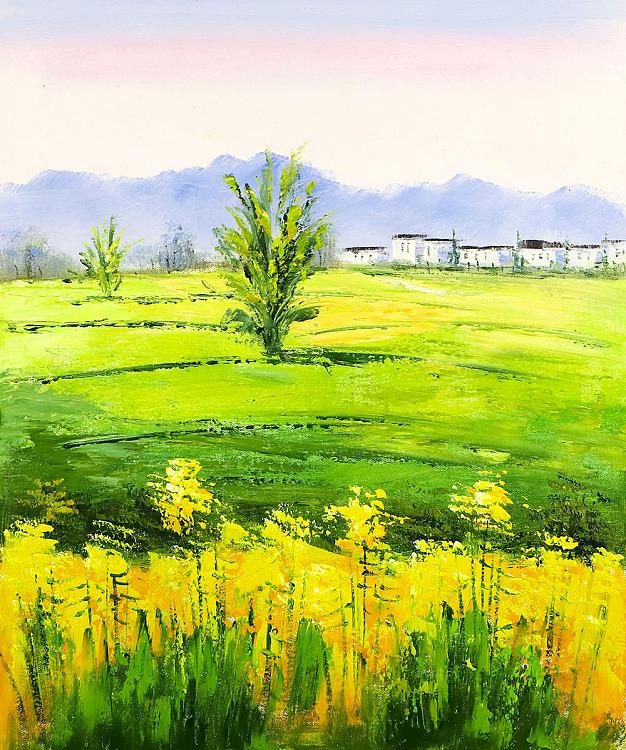婺源春天 油菜花写生精品作品 当代油画家 刘言 纯手绘布面油画
