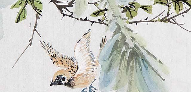 中国人民大学哲学美学博士 刘阔《鸣春》精品花鸟