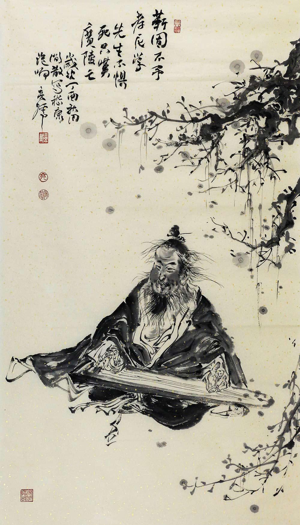 中央美术学院硕士 王亮儒 抚琴图