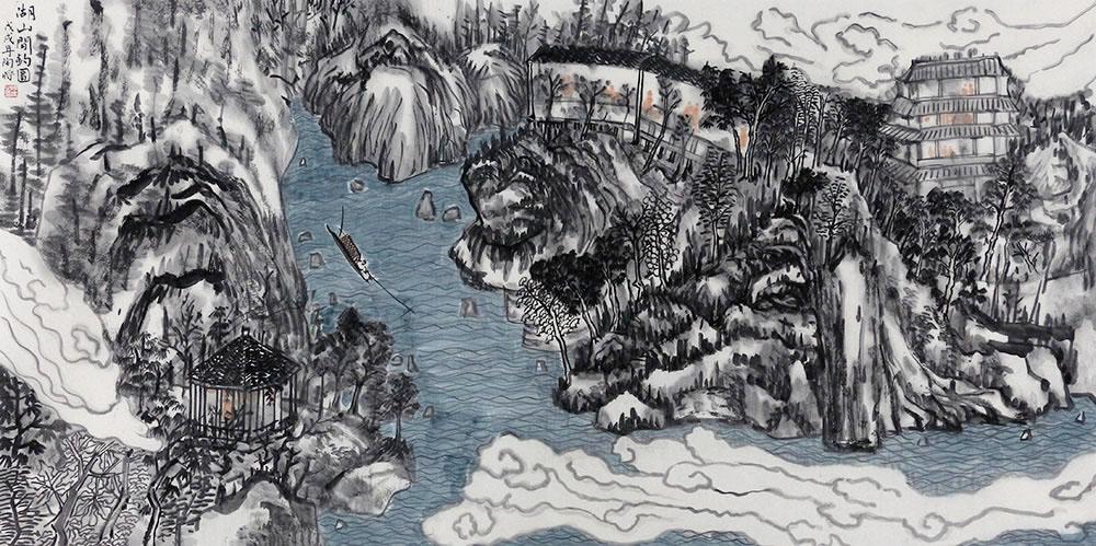 中国美术家协会会员 陶将 山水 国画