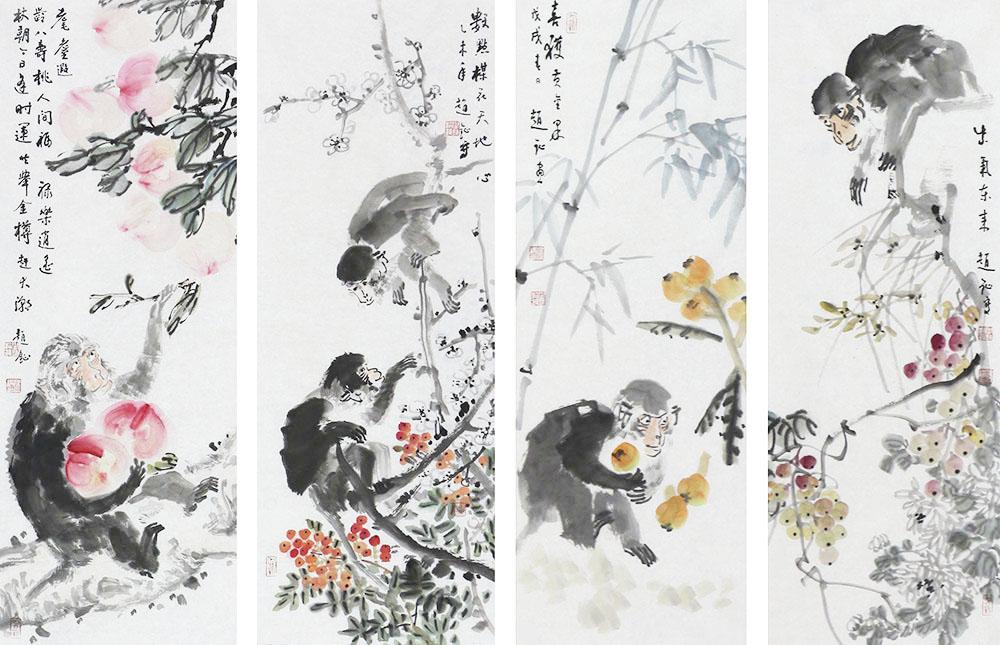 中国美术家协会会员 赵钲 花鸟四条屏