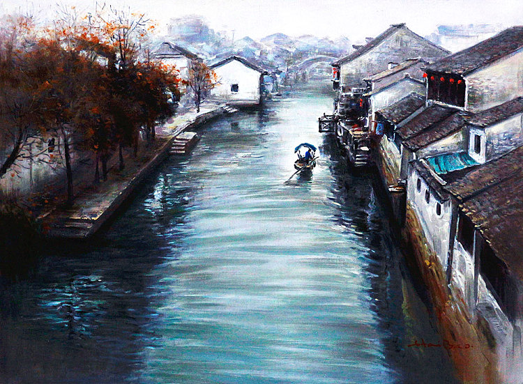 江南水乡 当代油画家  陈海宝 风景油画