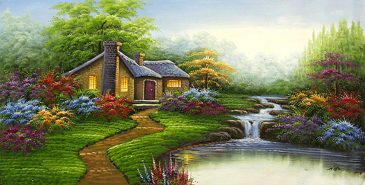 大尺幅特惠风景《湖光山色》系列 当代油画家 刘言 超值精品