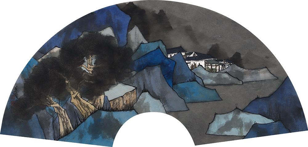 中国美术家协会会员 中国水墨画学会常务副会长 曾军艺 青山依依 扇面展览作品