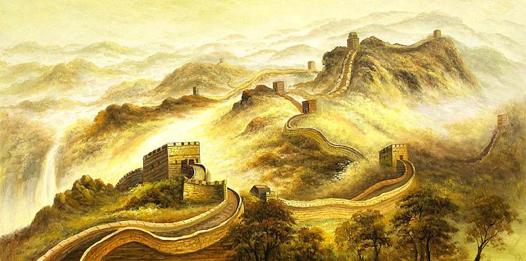 叶乐辛 油画 《万里长城》当代油画家  叶乐辛 精品 写生创作作品