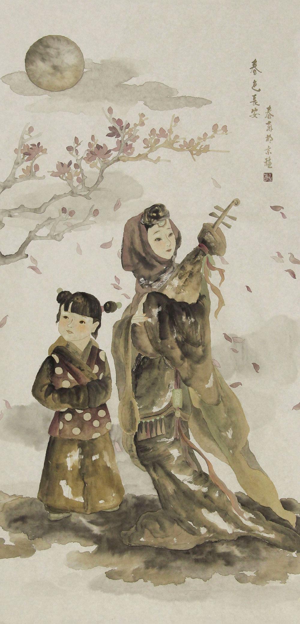河北省美协会员、中国女子画会会员、工笔协会会员。 王春菊 人物 国画