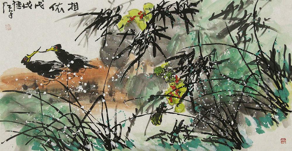 中国美术家协会会员 刘继红 花鸟 国画