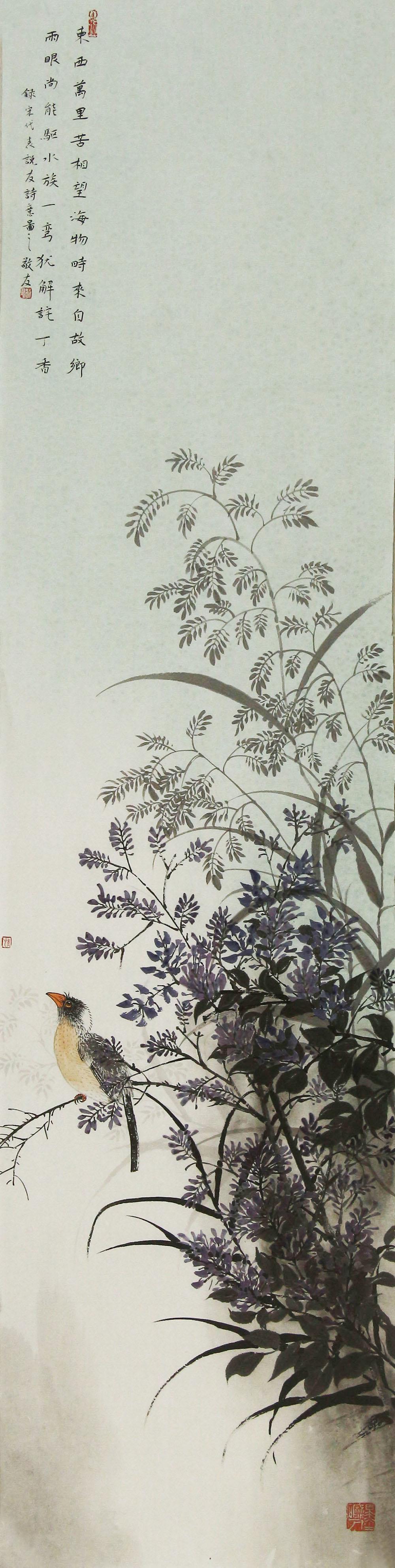 中国美术家协会会员 陈敬友 花鸟 国画