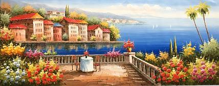 黄明灯手绘油画作品《地中海》