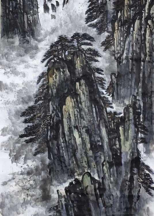练溪闲人 传统山水,黄山九龙瀑