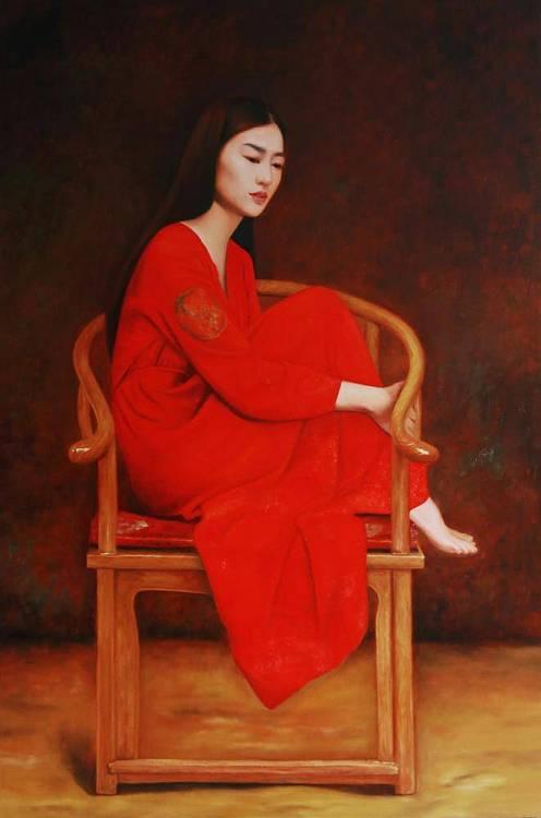 著名写实油画家  孙冰 经典作品《红衣服女人》